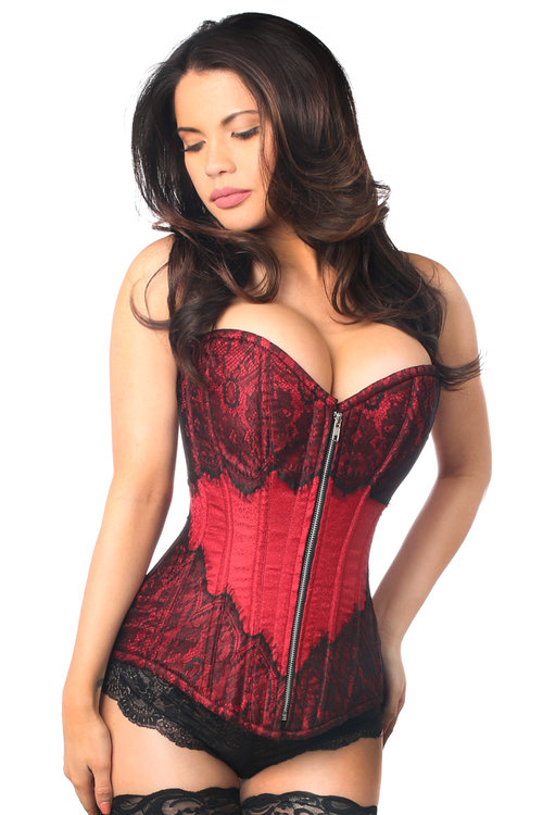 3bc4e2d224 Top Drawer Wine Brocade Steel Boned Corset with Black Eyelash Lace
