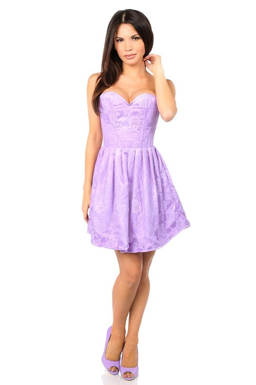 7b2781ab0cfa Top Drawer Steel Boned Lilac Lace Empire Waist Corset Dress