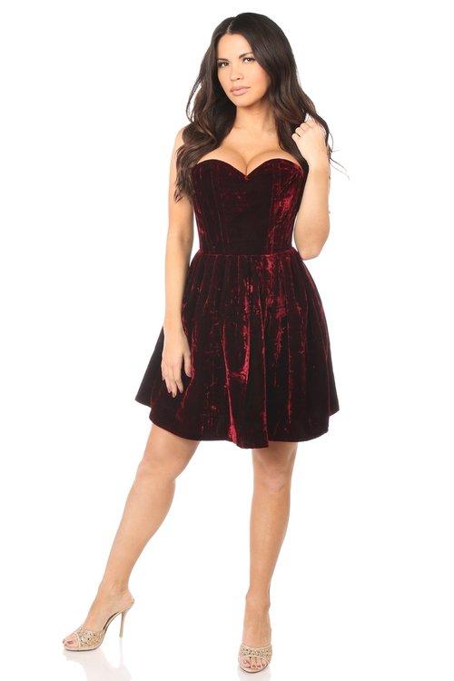 2fe9b803d5d Top Drawer Steel Boned Red Velvet Empire Waist Corset Dress