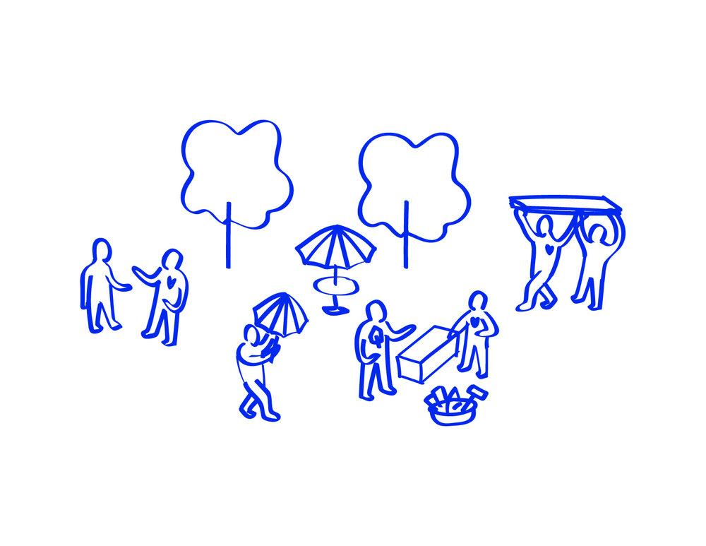 6. INTERVENIR DANS L'ESPACE URBAIN   Chacune des semaines d'interventions est dédié à un enjeu propre au projet. Plusieurs actions sont donc entreprises afin d'adresser des éléments de réponses à ses enjeux.