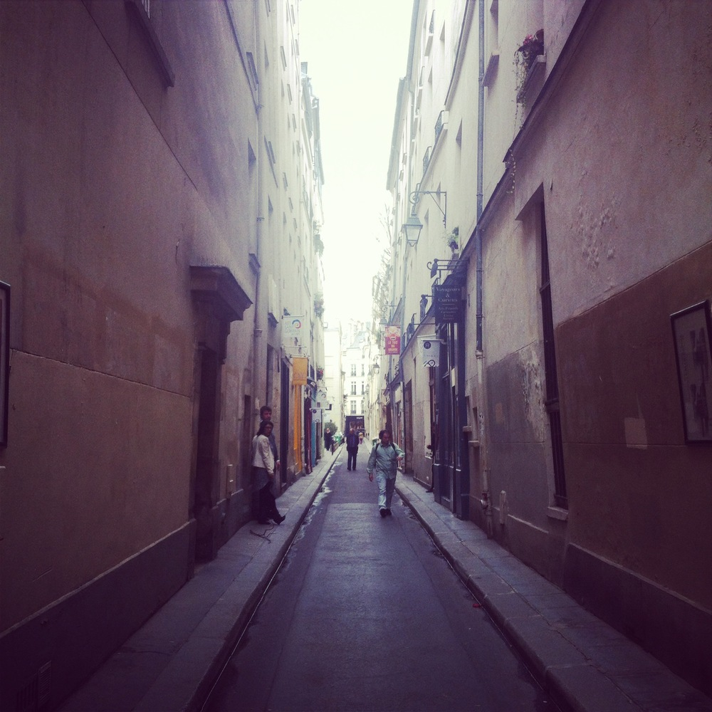 Narrow side street near the Latin Quarter in Paris