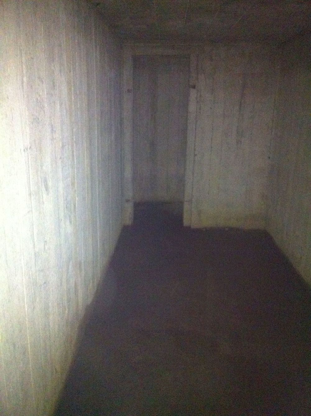 Interior view of underground German bunker, Gold Beach.