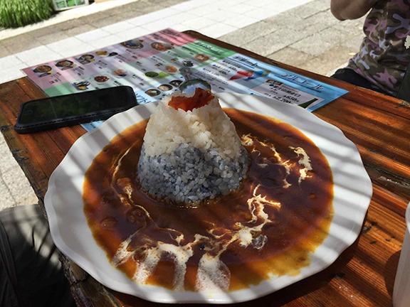 Celebratory Fuji mountain of rice at the fifth station (©Deborah Clague)