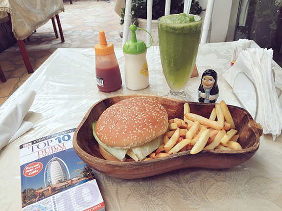 The camel burger with fries and a mint-lemon beverage at  Local House Restaurant  in Dubai (©Deborah Clague, 2016).