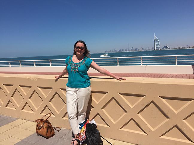 On Palm Island, Dubai's skyline in the background (©Deborah Clague, 2016).