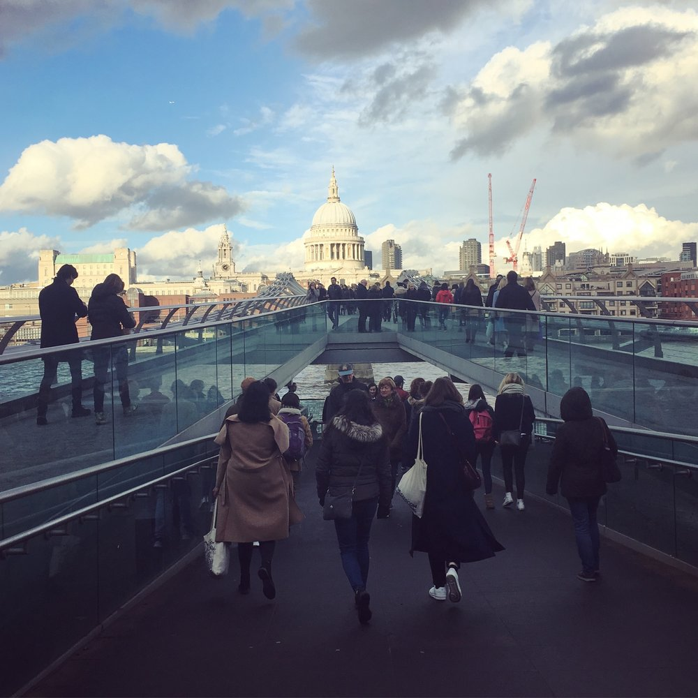 St. Paul's Cathedral graces the skyline for those crossing Millennium Bridge, London, England (2017). ©Deborah Clague