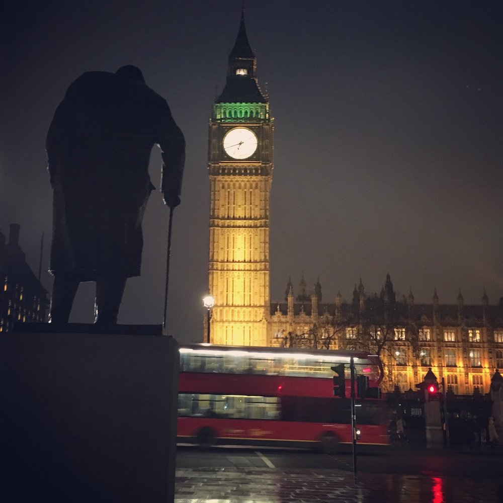 The statue of Winston Churchill looms over the House of Parliament, London, England (2017) ©Deborah Clague