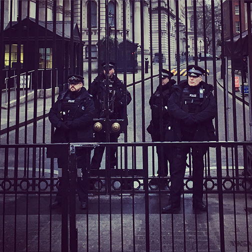 Security at No.10 Downing Street, residence of the British Prime Minister (©Deborah Clague)