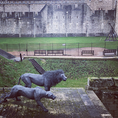The moat surrounding the Tower of London features zoomorphic statuary of creatures that once called it home (©Deborah Clague)