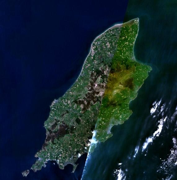 Satellite image of the Isle of Man