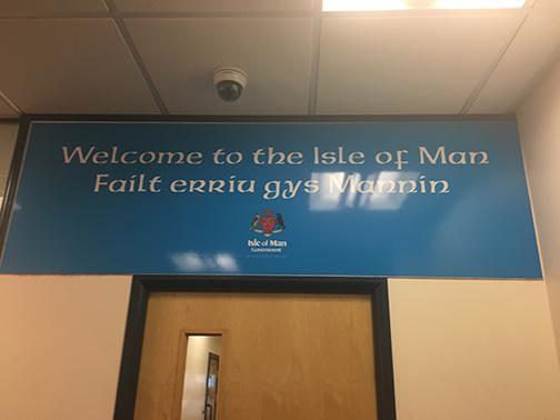 Welcome signage at IOM (©Deborah Clague)