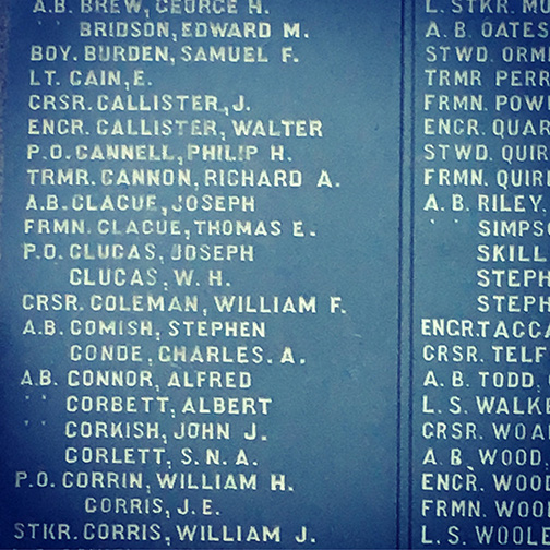 Joseph Clague and Thomas Clague, both members of the Royal Navy, are listed on a memorial to those who died during the two world wars (©Deborah Clague)