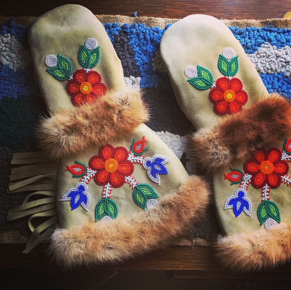 Metis beadwork, Batoche National Historic site, Saskatchewan.