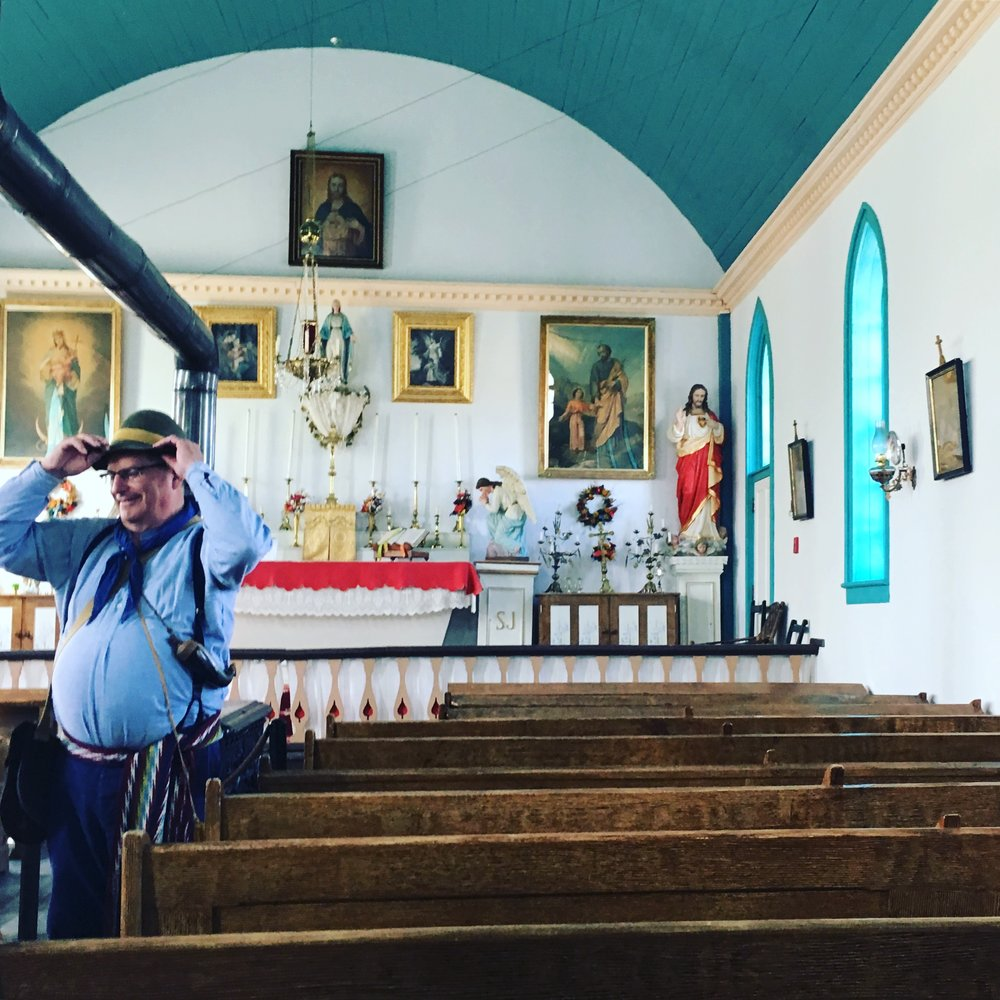 Interior of church at Batoche National Historic site, Saskatchewan.
