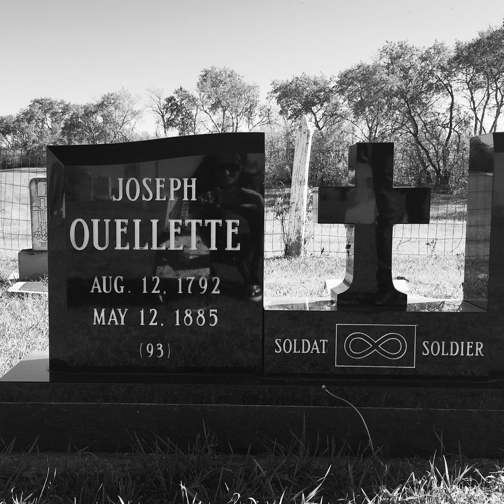 Earlier this year, I found out that my grandfather – also named Joseph Ouellette – passed away. Seeing this headstone at the cemetery in Batoche National Historic site made me curious about my maternal family history, of which I know very little.