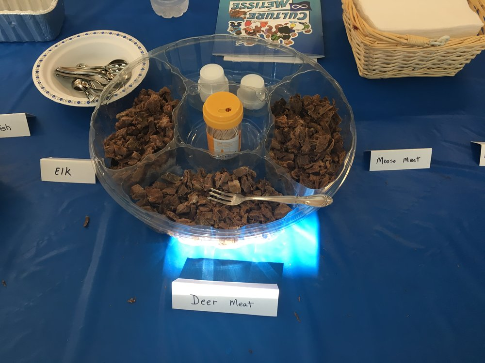 I got to try moose meat, deer meat and elk meat, all of which I thoroughly enjoyed.
