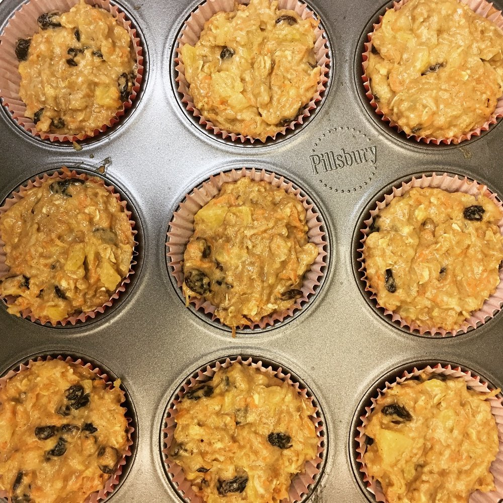 Good Morning Sunshine muffins with carrot, pineapple, coconut, macadamia nut and raisins (©Deborah Clague)