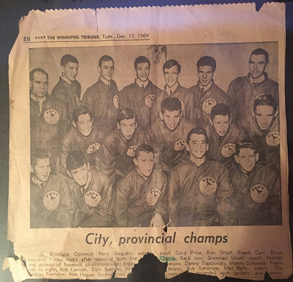 Press clippings from my father's hockey career. In this, he is pictured in the middle row, far right (©Deborah Clague).
