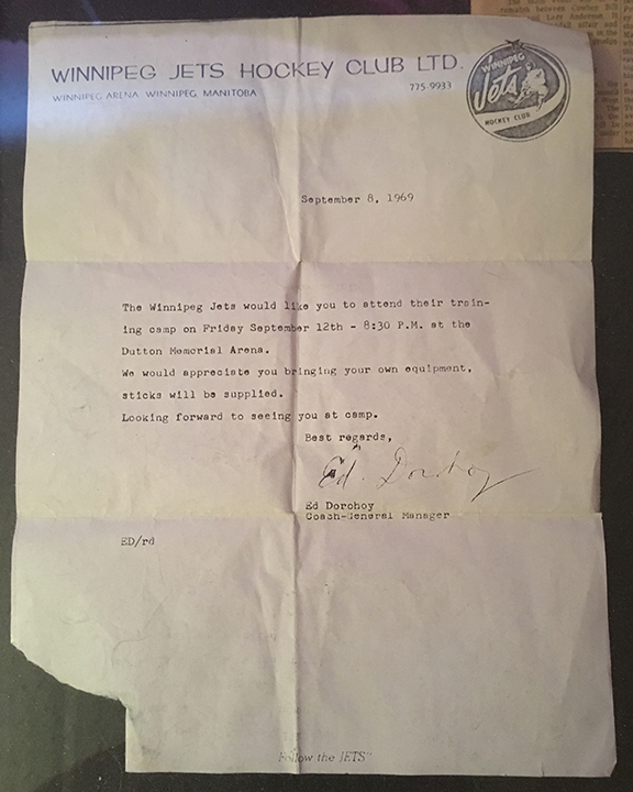 A letter inviting my father to attend the Winnipeg Jets training camp in 1969 (©Deborah Clague)