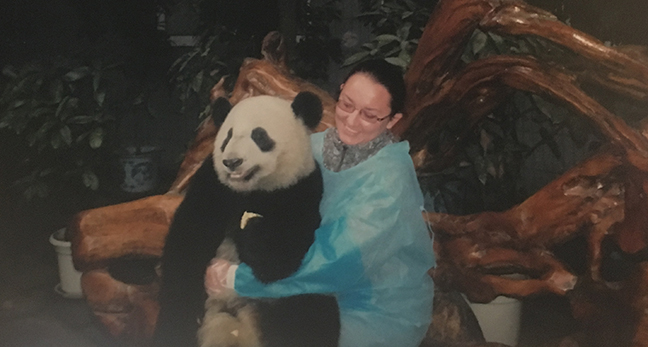 Me and a friend at the Chengdu Research Base of Giant Panda Breeding (©Deborah Clague, 2007).