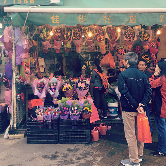The flower market, Hong Kong (©Deborah Clague, 2018).