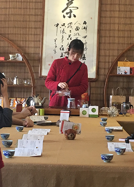 Taking part in a traditional tea ceremony on Lantau Island (@Deborah Clague, 2018).