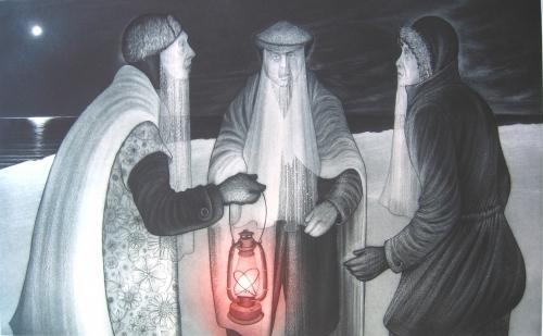 Three Mummers on Winsor's Point, David Blackwood (1979)