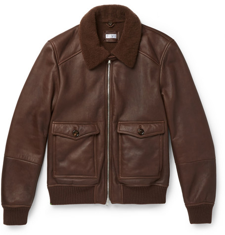 brunello cucinelli shearling lined leather bomber jacket.jpg