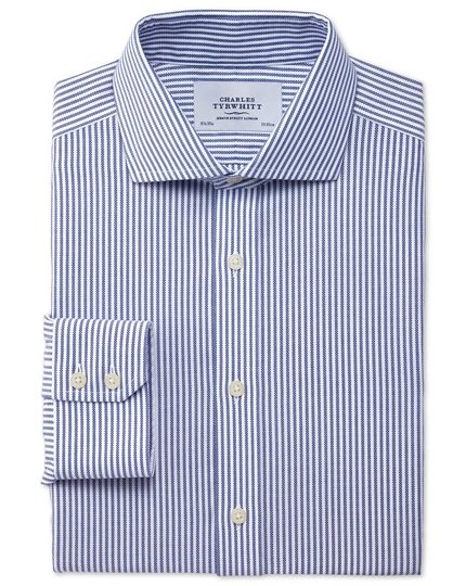 Extra slim fit spread collar non-iron royal Oxford navy shirt