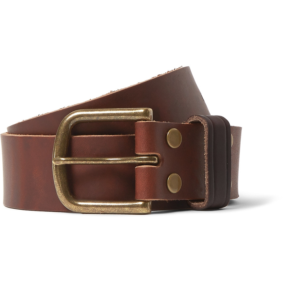 Jean Shop - 4cm Brown Distressed Leather Belt