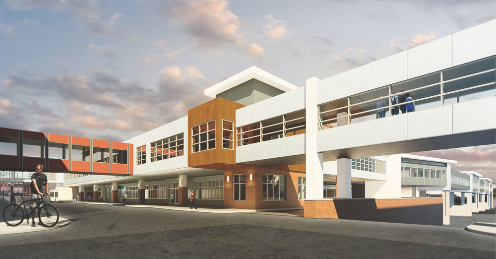 Front elevation of the new DTA Multimodal Center.  IMAGE: LHB CORP