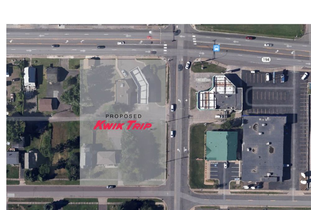 Proposed Kwik Trip location on the corner of Central Entrance and Arlington Avenue. (Image provided by Google Earth)
