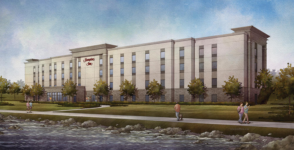 Proposed Hampton Inn and Suites. Image provided by ZMC Hotels.