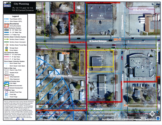 Above: Site aerial of the planned Dunkin' Donuts location (outlined in yellow) at 104 West Central Entrance. (Image provided by the Duluth Planning Commission).