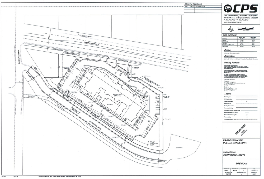 Above:   Site plan for the  new 98 room hotel proposed for East Central Entrance