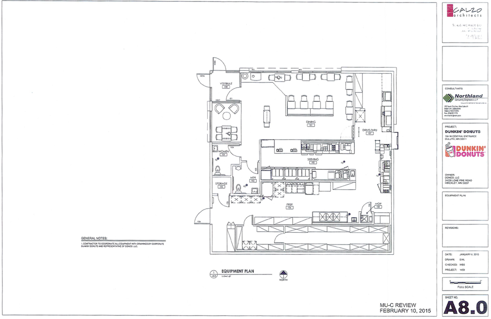 Floor plan of the new Dunkin' Donuts location