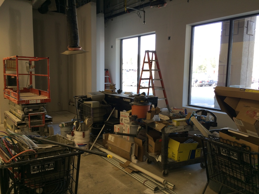 Above:  Progress on the new Alakef Coffee Roasters kiosk space at Super One Foods in the Kenwood Shopping Center
