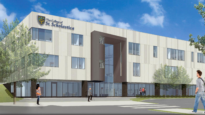 The new Health and Science Pavilion building planned for BlueStone Commons  |  College of St. Scholastica
