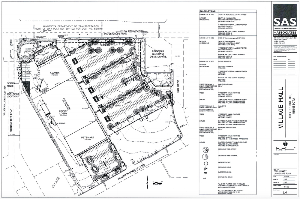 Landscape plan showing PetSmart location and area of parking lot to not be replaced |   Duluth Planning Commission