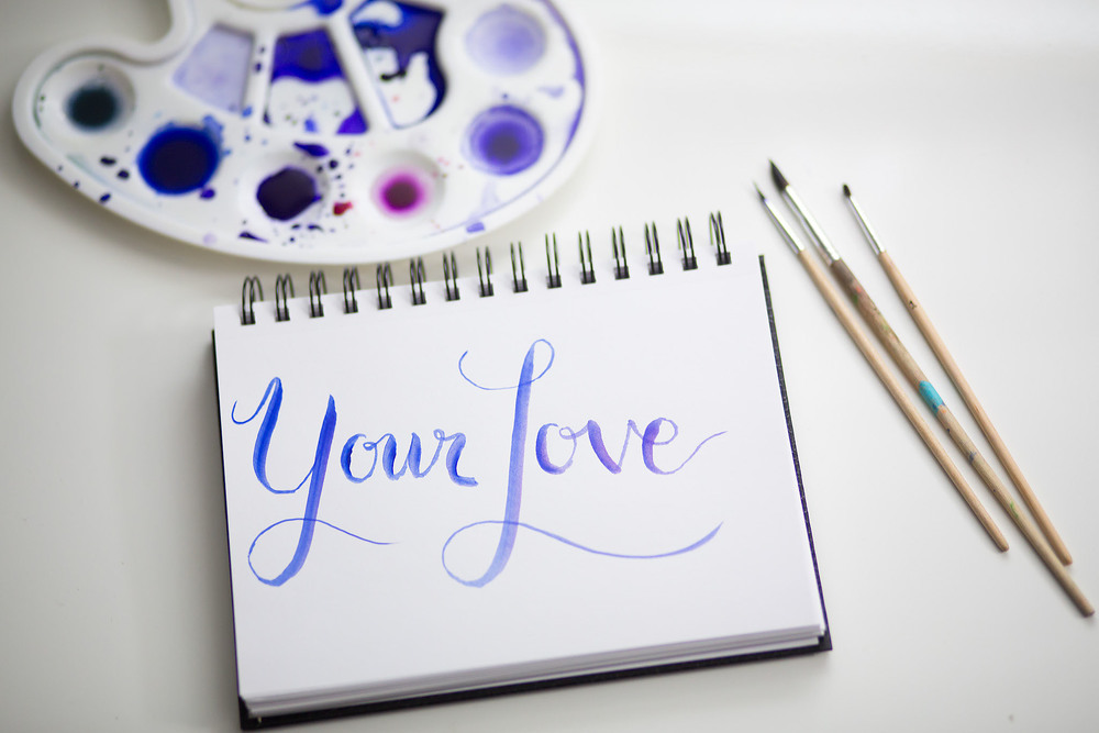 brush watercolour calligraphy your love
