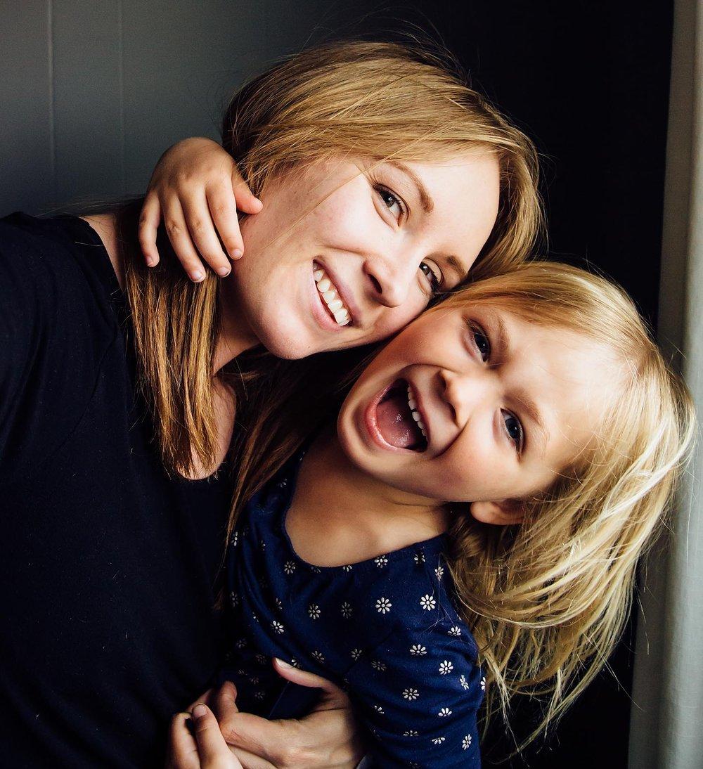 joyful mom and preschooler