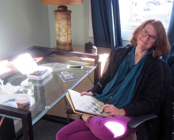 Highrocker Kirsten Borne works on a sketch