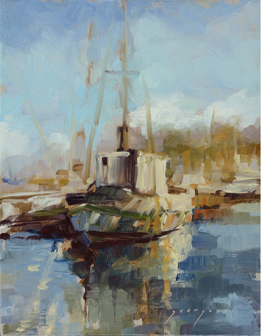 "Moss Landing Marina, 8""x10"", Oil on Panel,  SOLD"