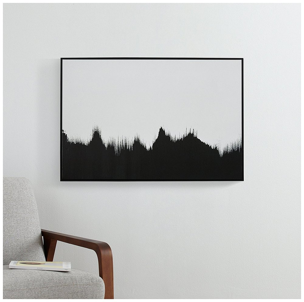 Abstract Black and White Print of Tree Line -