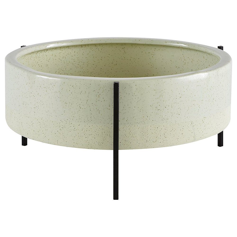 Wide Ceramic Standing Planter -
