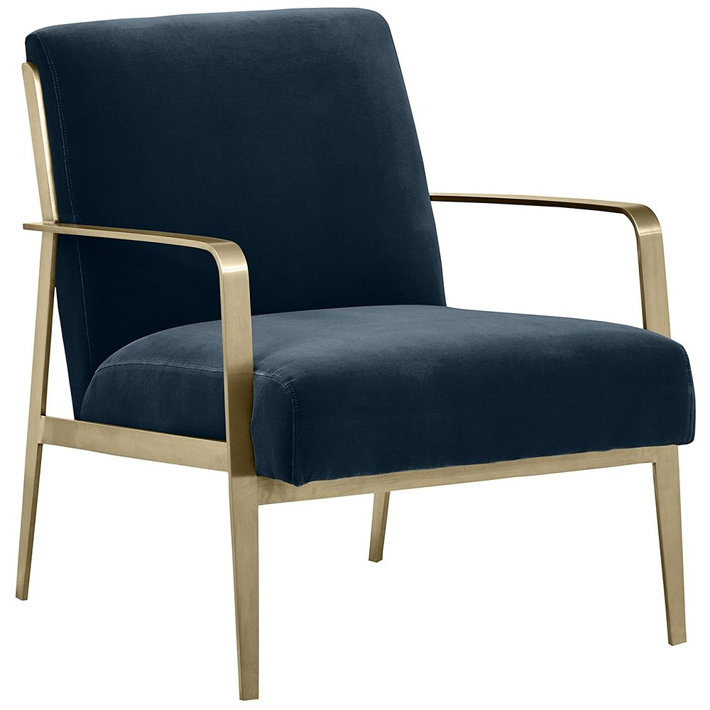 Rivet navy & Brass Accent Chair -