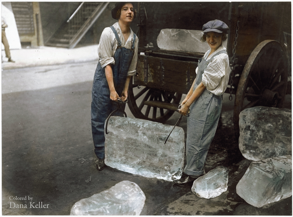 """Girls deliver ice."" 1918"