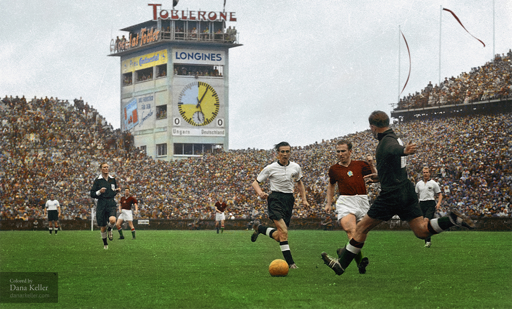 "Opening moments of the 1954 World Cup Final, ""Miracle of Bern"", played at the Wankdorf Stadium in Bern, Switzerland"