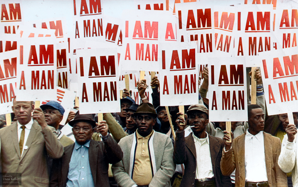 """I AM A MAN"" Memphis Sanitation Strike; March 28, 1968."