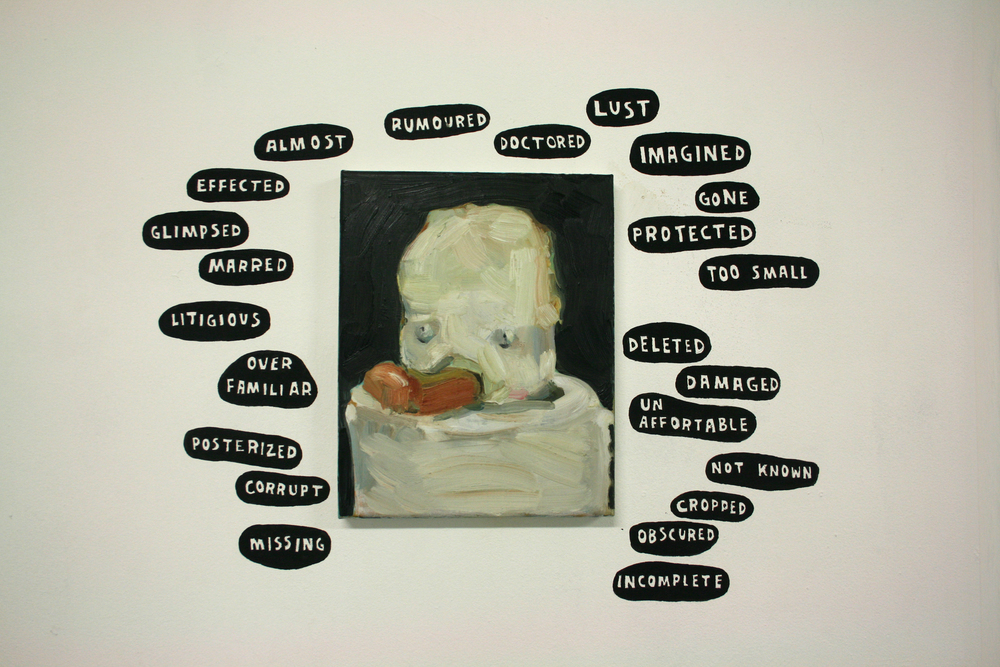 'abused painting' by Karina Beumer. Words used as a prompt for text.